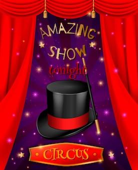 Composição de pôster de circo com imagens 3d realistas de chapéu e bengala com cortinas vermelhas e texto