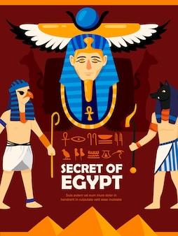 Composição de pôster vertical do egito com caracteres do estilo doodle, escrita egípcia antiga e símbolos com texto