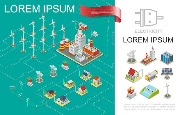 Composição de produção de eletricidade isométrica com usinas nucleares e hidrelétricas moinhos de vento torres elétricas transmissão armazenamento de energia painel solar ilustração de casas