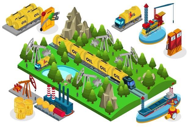Composição de produção de óleo isométrico