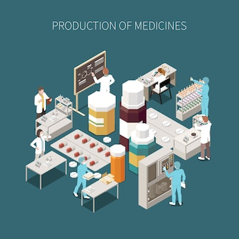 Composição de produção farmacêutica isolada colorida com descrição de medicamentos e ilustração de laboratório médico