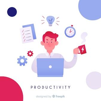 Composição de produtividade moderna com design plano