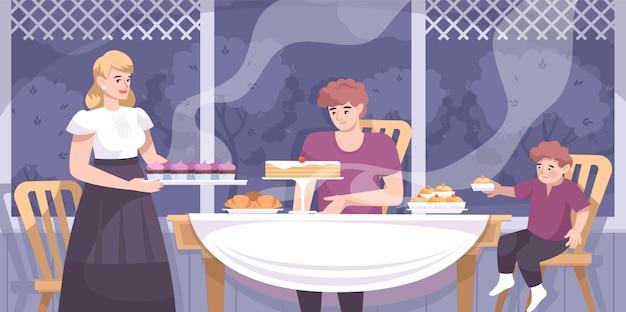 Composição de produtos de panificação com cenário de varanda de casa e personagens de familiares comendo bolos e ilustrações de croissants