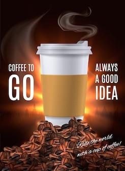 Composição de propaganda de café para viagem