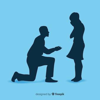 Composição de proposta de casamento com estilo de silhueta