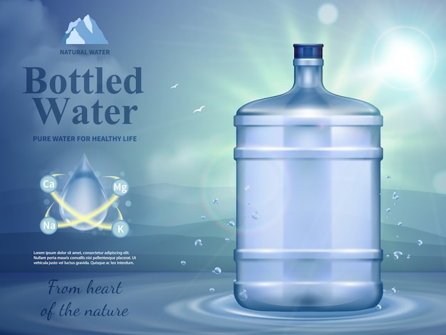 Composição de publicidade de água engarrafada com símbolos de água natural