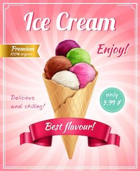 Composição de publicidade de cartaz de sorvete com legendas em texto editável de quadro e imagem realista de corneta de sorvete