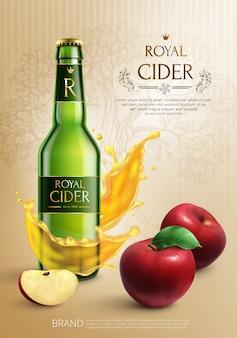 Composição de publicidade realista com garrafa de cidra real e maçãs vermelhas