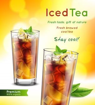 Composição de publicidade realista de pacote de chá gelado com copos cheios de folhas de hortelã limão promovendo ilustração vetorial de texto