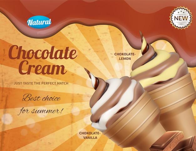 Composição de publicidade realista de sorvete com porções de cornet de sorvete e texto ornamentado disponível para edição de ilustração