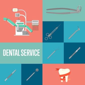 Composição de quadrados de serviço odontológico com instrumentos