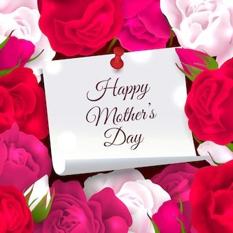 Composição de quadro de dia das mães de papel com lugar para texto ornamentado editável, rodeado por ilustração vetorial de flores rosas