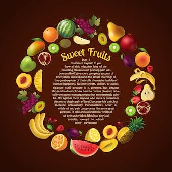 Composição de quadro redondo de frutas com modelo de texto