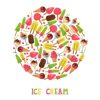 Composição de quadro redondo de sorvete