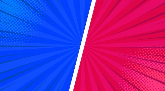 Composição de quadros coloridos em quadrinhos com efeitos de humor radial de linhas inclinadas de meio-tom em rosa azul