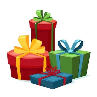 Composição de quatro caixas de presente com fitas. preparação para o feriado.