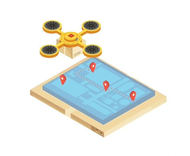 Composição de rastreamento de entrega de mercadorias com localização e rota de transporte na ilustração em vetor isométrica tela dispositivo móvel