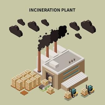 Composição de reciclagem de lixo colorido com manchete da planta de incineração e ilustração de construção de armazém isolado