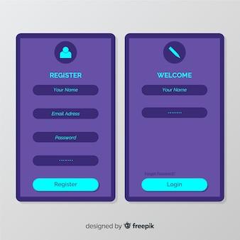Composição de registro online moderna
