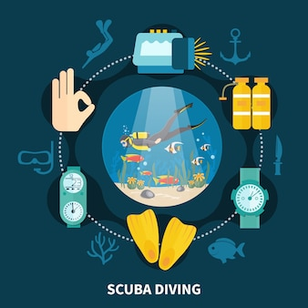 Composição de rodada de mergulho com pessoa nadando entre peixes e ícones com equipamento subaquático