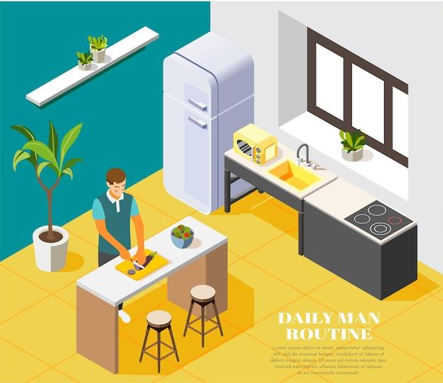 Composição de rotina diária com homem cozinhando na cozinha 3d isométrica