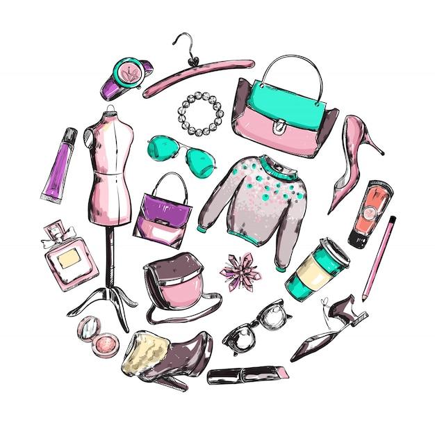Composição de roupas da moda rodada