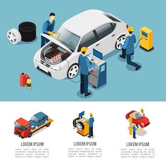 Composição de serviço de carro isométrico