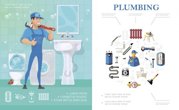 Composição de serviço de encanamento com técnico de pé no banheiro com espelho de máquina de lavar lavatório de vaso sanitário e elementos coloridos de encanador
