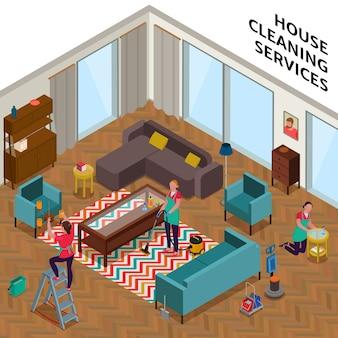Composição de serviços de limpeza doméstica com trabalhadoras durante a arrumação do apartamento isométrico