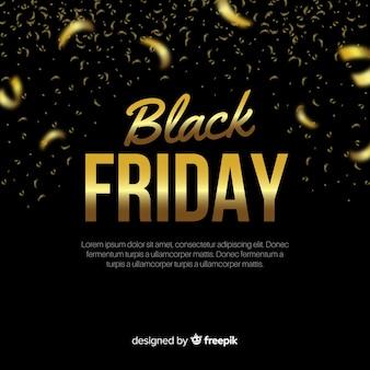 Composição de sexta-feira negra elegante com estilo dourado