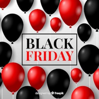 Composição de sexta-feira negra moderna com balões realistas