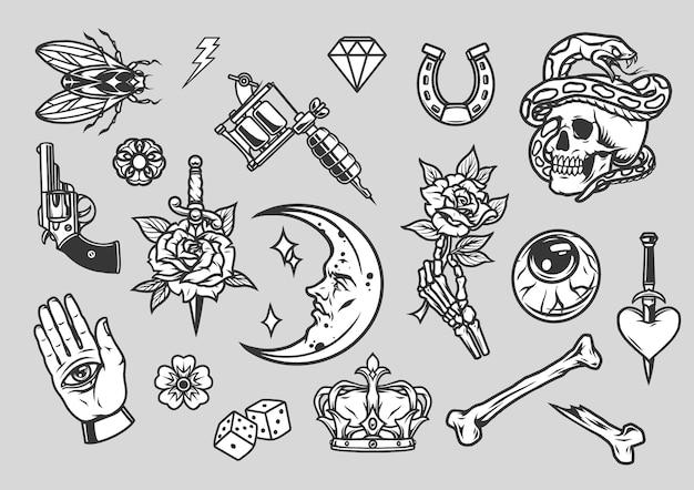 Composição de tatuagens vintage com desenhos monocromáticos em fundo cinza
