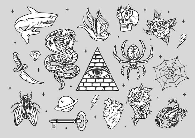 Composição de tatuagens vintage com vários animais crânio de facão com fogo das órbitas dos olhos planeta flores teia de aranha chave coração diamante pirâmide com olho