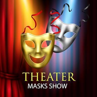 Composição de teatro de cortinas vermelhas