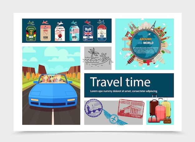 Composição de tempo de viagem plana com ilustração de viagem de carro mundialmente famoso, distintivos de bagagem e selos de diferentes países