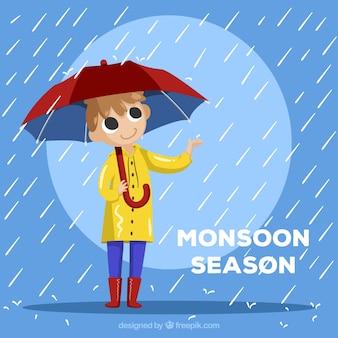 Composição de temporada de monções com design plano