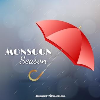 Composição de temporada de monções com design realista