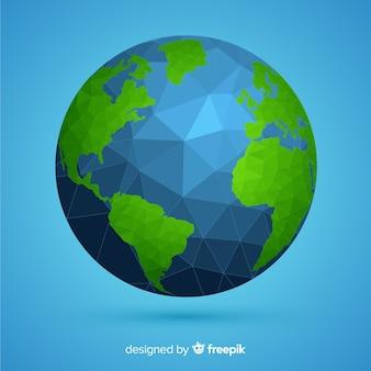 Composição de terra moderna do planeta com estilo poligonal