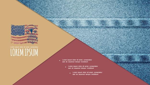 Composição de textura de jeans colorido tradicional