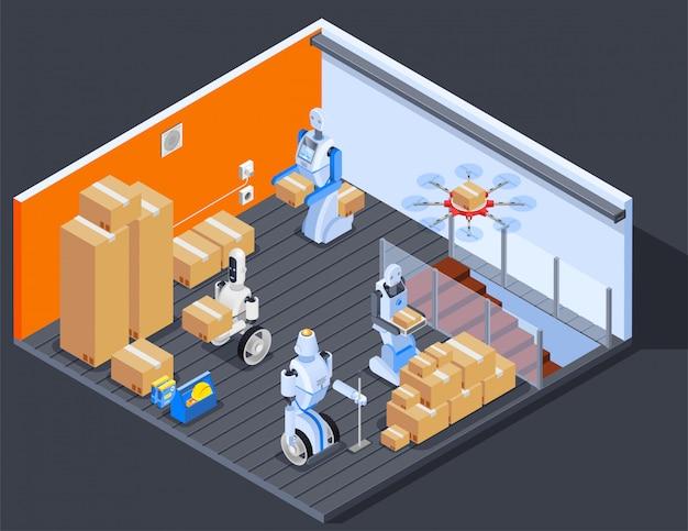 Composição de trabalhadores de armazém robótico