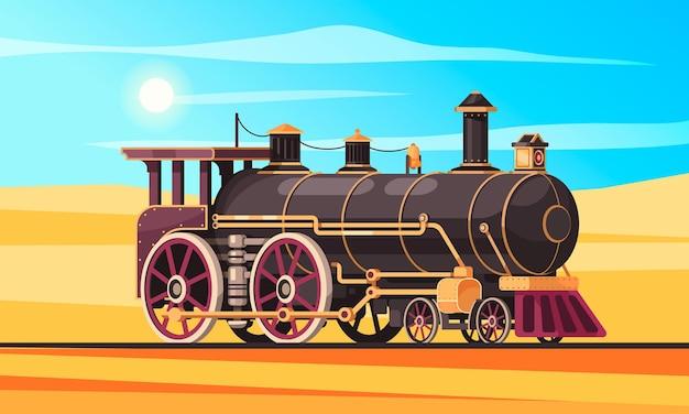 Composição de transporte vintage com areia da paisagem do deserto e céu ensolarado com ferrovia e locomotiva a vapor clássica