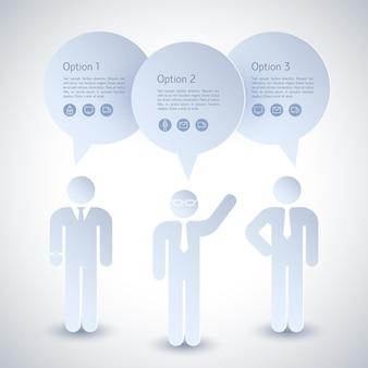 Composição de três empresários cinza com nuvens sobre suas cabeças e três opções
