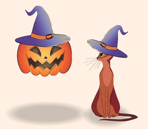 Composição de um gato e uma jack-o-lantern flutuante em chapéus.