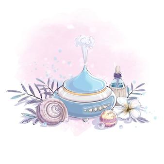 Composição de um umidificador, uma bolha com óleo essencial, uma flor de plumeria e uma concha do mar.