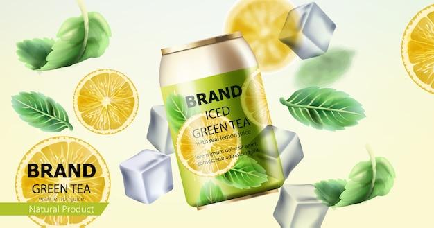 Composição de uma lata de chá verde gelado