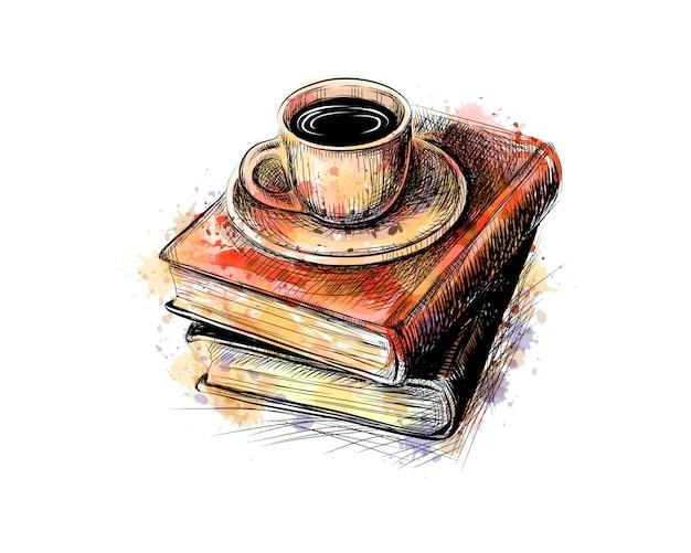 Composição de uma pilha de livros e uma xícara de café de um respingo de aquarela, esboço desenhado de mão
