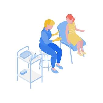 Composição de vacinação isométrica com médico especialista conversando com uma criança sobre ilustração de vacina