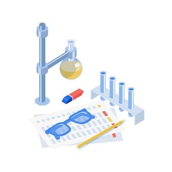 Composição de vacinação isométrica com vista de frasco de vidro de tubos de ensaio e óculos de proteção com formulário de papel e ilustração a lápis