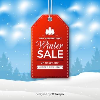 Composição de venda adorável inverno com design realista