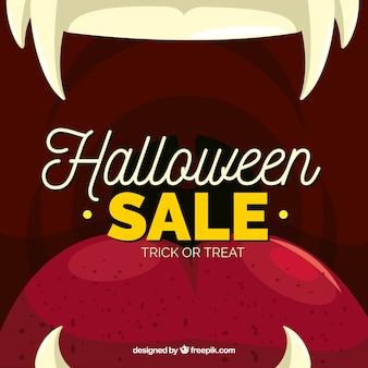 Composição de venda de halloween com design plano